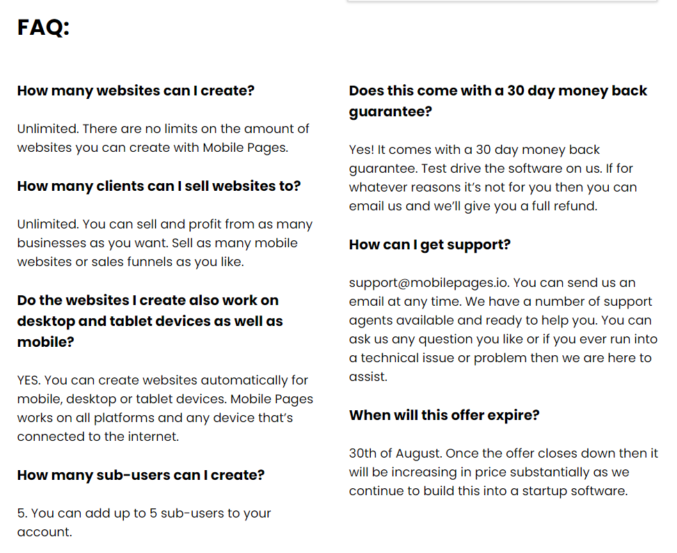 Mobile Pages by AdSightPro-FAQ
